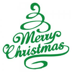 DSU Green Tree Festival Decor Merry Christmas Quote Wall Sticker -