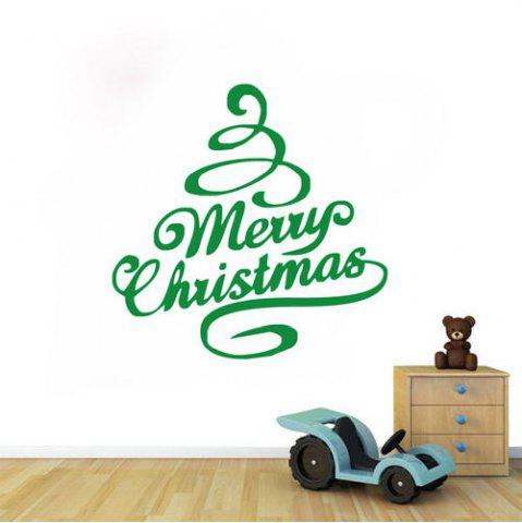 Sale DSU Green Tree Festival Decor Merry Christmas Quote Wall Sticker