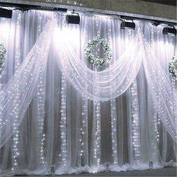 SUPli 300 LED Window Curtain String Light for Wedding Party Home Garden Bedroom Outdoor Indoor Wall Decorations -