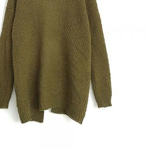 Long Large Size Solid Pocket Lady Twist Knit Cardigan Sweater -