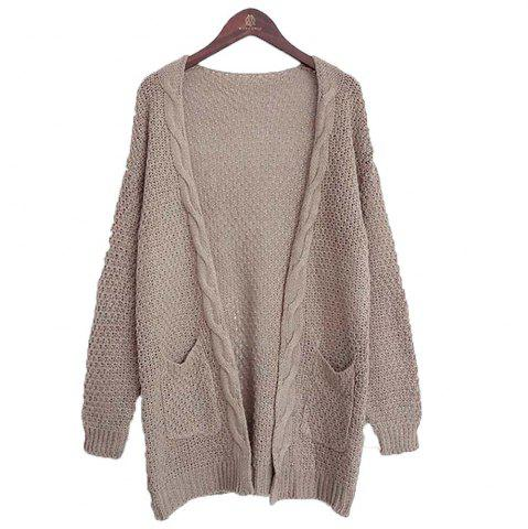 Chic Long Large Size Solid Pocket Lady Twist Knit Cardigan Sweater
