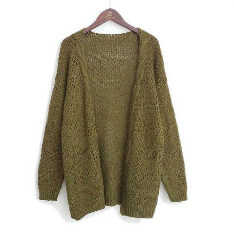 Best Long Large Size Solid Pocket Lady Twist Knit Cardigan Sweater