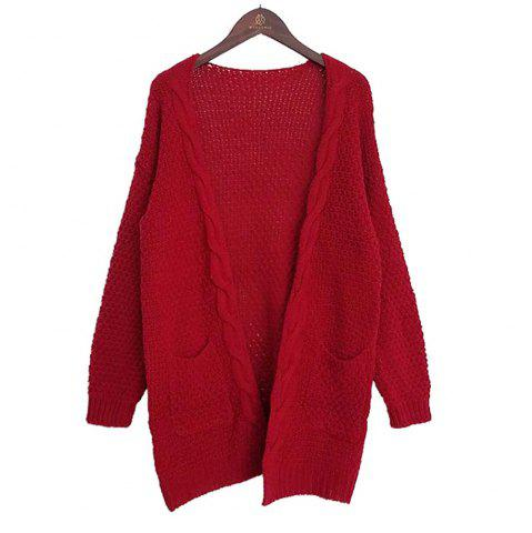 Outfit Long Large Size Solid Pocket Lady Twist Knit Cardigan Sweater