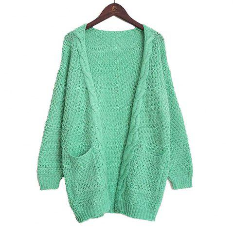 New Long Large Size Solid Pocket Lady Twist Knit Cardigan Sweater