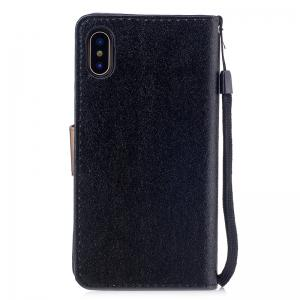 Nacy Natural Silk Double Color Texture  PU Leather Case with Wallet Card Slots for iPhone X -