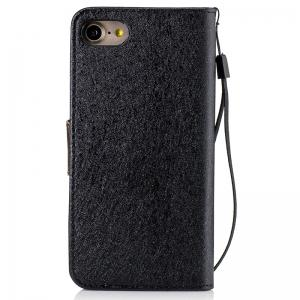 Nacy Natural Silk Double Color Texture  PU Leather Case with Wallet Card Slots for iPhone 7 / 8 -