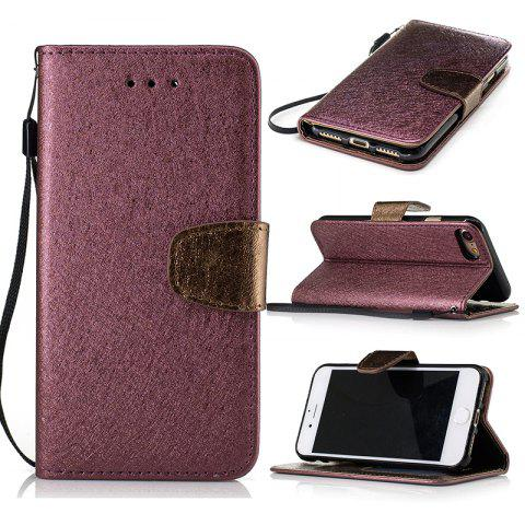 Hot Nacy Natural Silk Double Color Texture  PU Leather Case with Wallet Card Slots for iPhone 7 / 8
