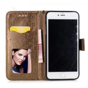 Nacy Natural Silk Double Color Texture  PU Leather Case with Wallet Card Slots for iPhone 7 Plus / 8 Plus -