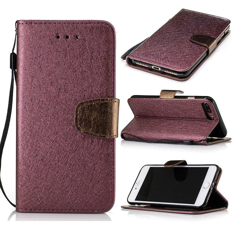 Discount Nacy Natural Silk Double Color Texture  PU Leather Case with Wallet Card Slots for iPhone 7 Plus / 8 Plus