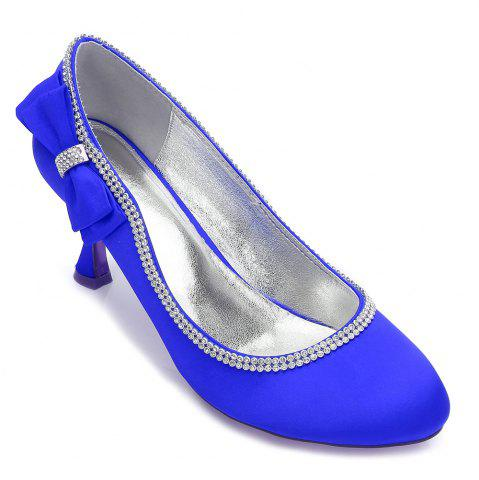Hot Womens Wedding Shoes Comfort  Basic Pump Ankle Strap Spring Summer Satin Wedding Dress Party Evening