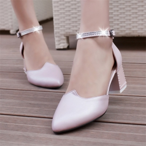 Women's Sandals Summer Chunky Heel Rhinestone Buckle Hollow-out -