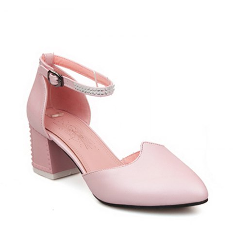 Buy Women's Sandals Summer Chunky Heel Rhinestone Buckle Hollow-out