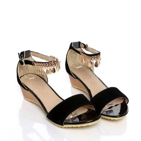Outfit Women's Sandals Summer Comfort Leatherette Wedding Low Heel Buckle Hollow-out