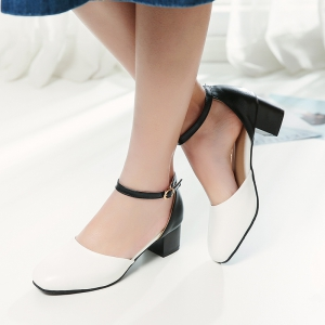 Women's Sandals Summer Dress Chunky Heel Buckle Hollow-out -