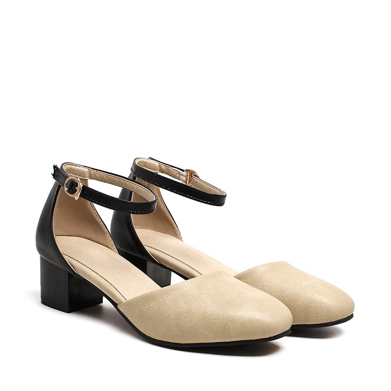 Outfit Women's Sandals Summer Dress Chunky Heel Buckle Hollow-out