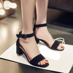 Women's Sandals Summer Gladiator Leatherette Casual Chunky Heel Buckle Hollow-out Yellow Beige Black -