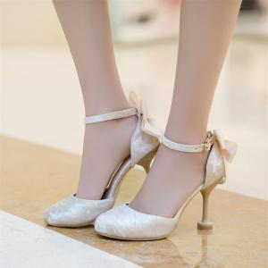 Women's Sandals Summer Club Shoes Wedding Party Dress Stiletto Heel Bowknot Buckle -