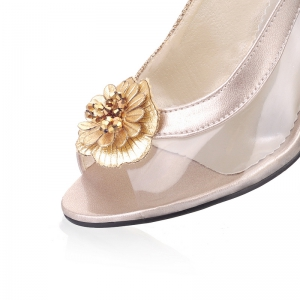 Sandals Summer Other Customized Materials Leatherette  Casual Kitten Heel Buckle Flower Black Silver Gold -