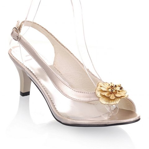 Best Sandals Summer Other Customized Materials Leatherette  Casual Kitten Heel Buckle Flower Black Silver Gold