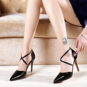 Women's Sandals Summer Club Shoes Patent Leather Wedding Stiletto Heel Buckle Black Yellow Pink White Beige Other -