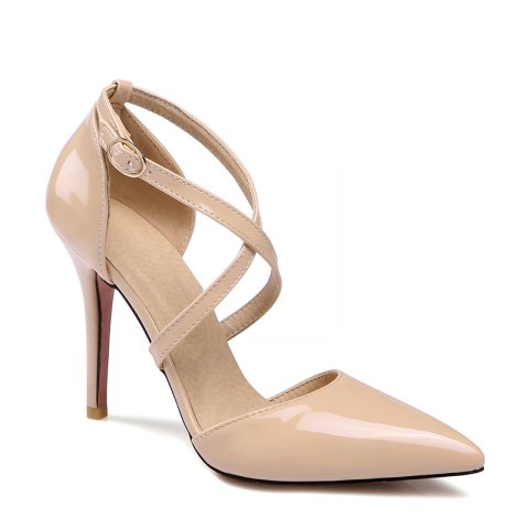 New Women's Sandals Summer Club Shoes Patent Leather Wedding Stiletto Heel Buckle Black Yellow Pink White Beige Other