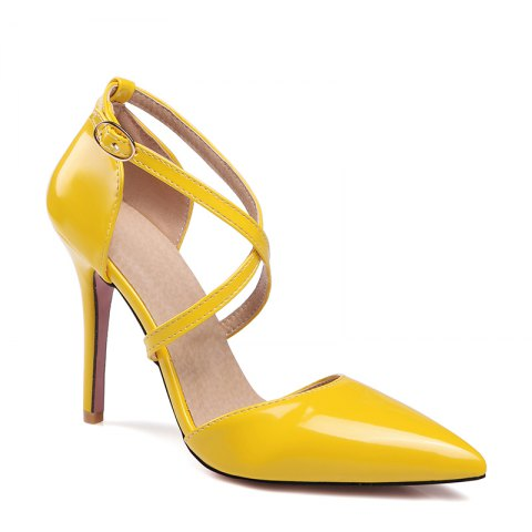 Online Women's Sandals Summer Club Shoes Patent Leather Wedding Stiletto Heel Buckle Black Yellow Pink White Beige Other