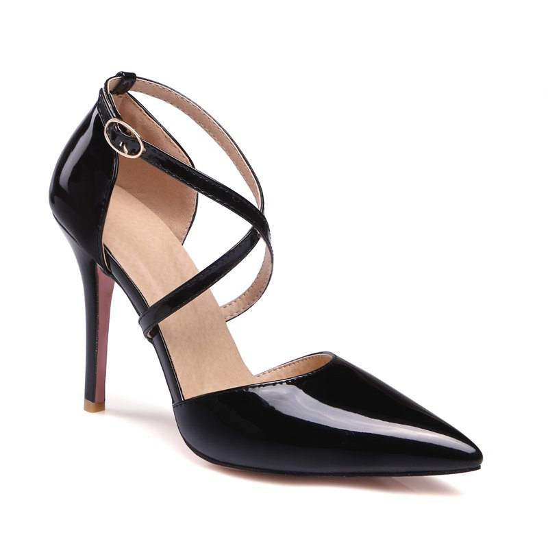 Trendy Women's Sandals Summer Club Shoes Patent Leather Wedding Stiletto Heel Buckle Black Yellow Pink White Beige Other