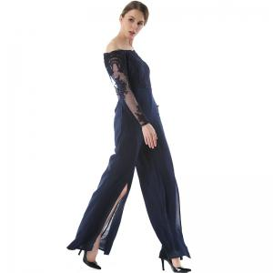 Long Sleeve Broad-Leg Open-Cut Jumpsuit -