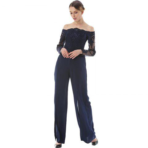 Affordable Long Sleeve Broad-Leg Open-Cut Jumpsuit