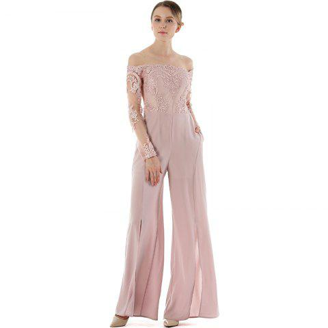 Latest Long Sleeve Broad-Leg Open-Cut Jumpsuit