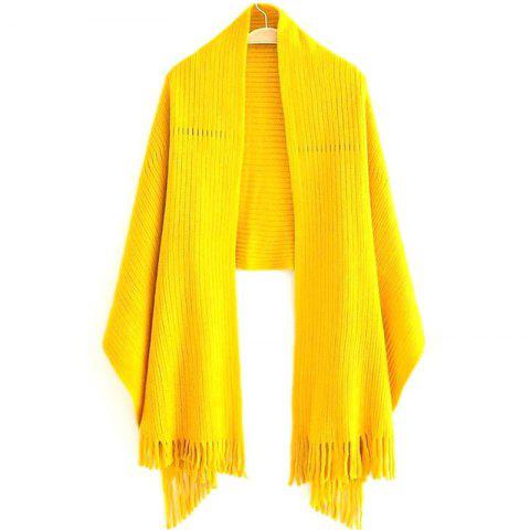 New New Women's Solid Color Hollow Out Vertical Stripes Tassel Scarf