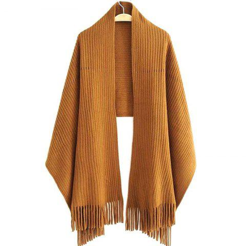 Outfits New Women's Solid Color Hollow Out Vertical Stripes Tassel Scarf