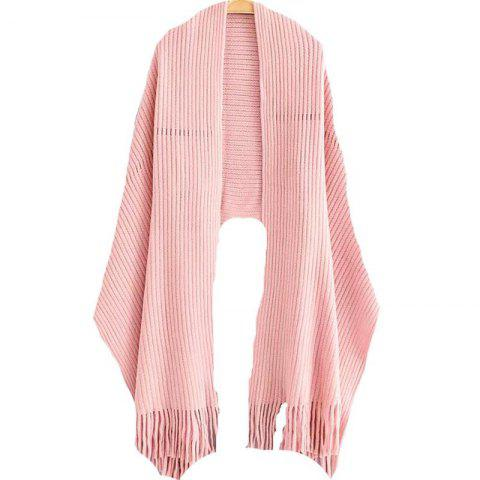 Chic New Women's Solid Color Hollow Out Vertical Stripes Tassel Scarf