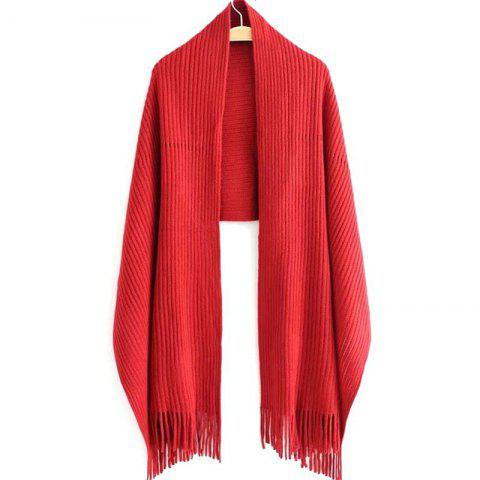 Online New Women's Solid Color Hollow Out Vertical Stripes Tassel Scarf