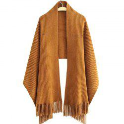 New Women's Solid Color Hollow Out Vertical Stripes Tassel Scarf -