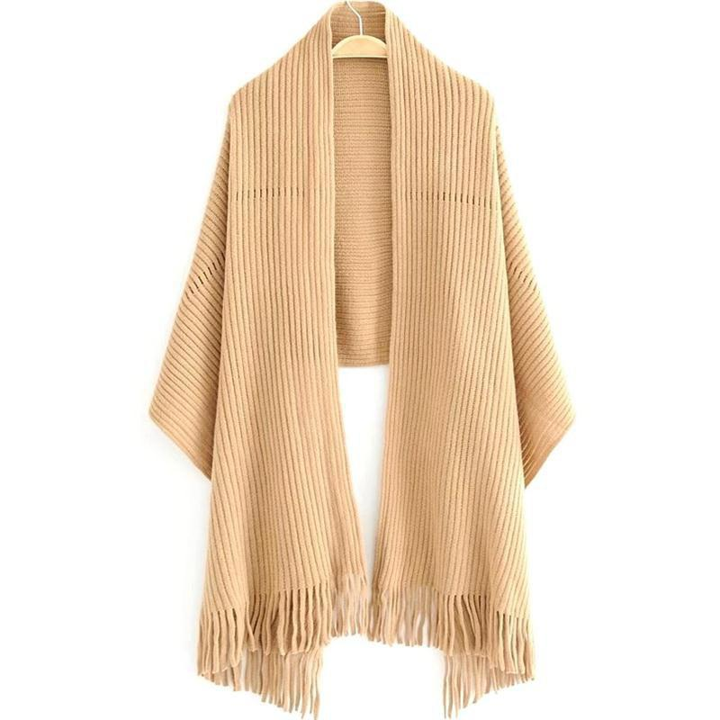 Unique New Women's Solid Color Hollow Out Vertical Stripes Tassel Scarf
