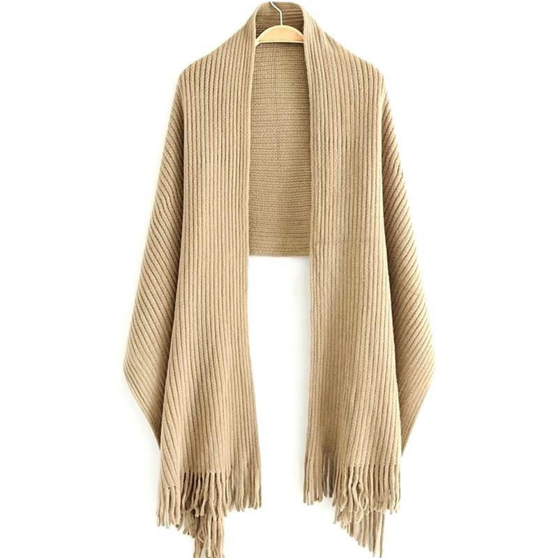Fashion New Women's Solid Color Hollow Out Vertical Stripes Tassel Scarf