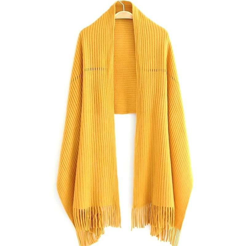 Shop New Women's Solid Color Hollow Out Vertical Stripes Tassel Scarf
