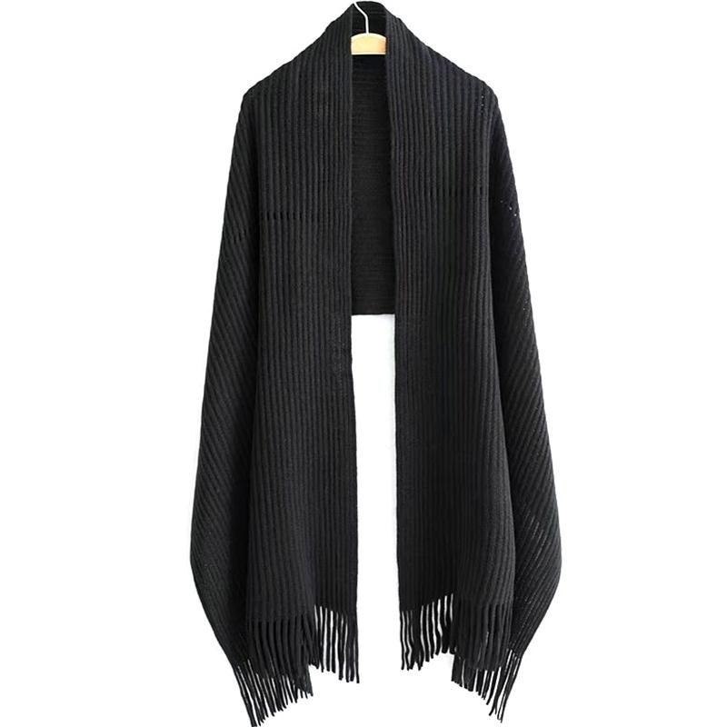 Affordable New Women's Solid Color Hollow Out Vertical Stripes Tassel Scarf