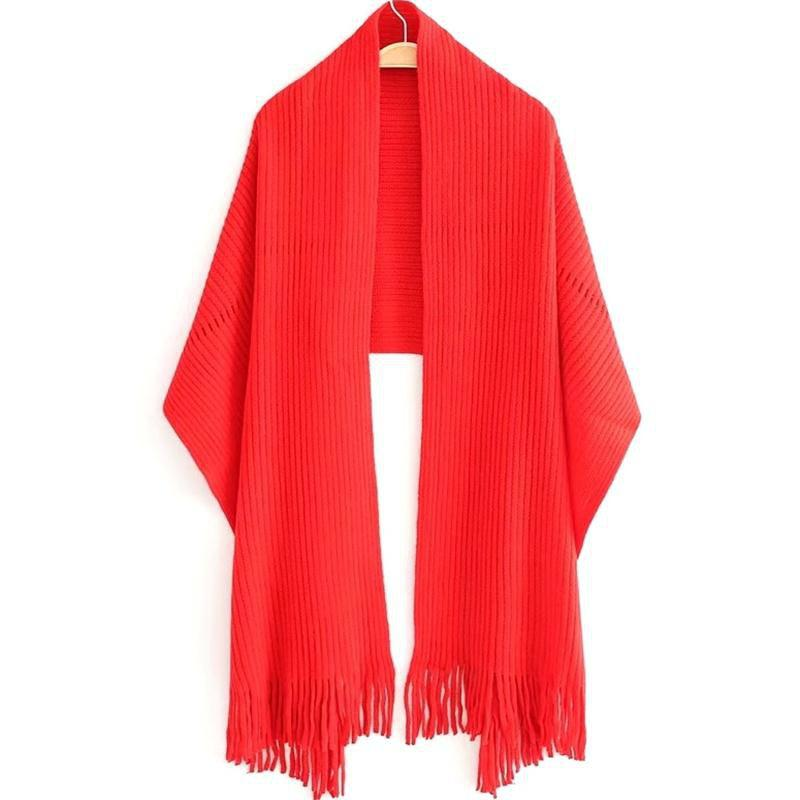Shops New Women's Solid Color Hollow Out Vertical Stripes Tassel Scarf