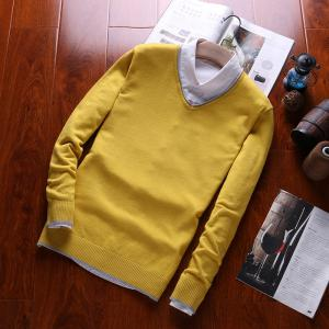 Men's Pure Color Casual Knitted Sweater -