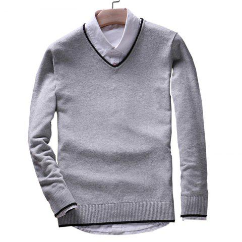 Store Men's Pure Color Casual Knitted Sweater