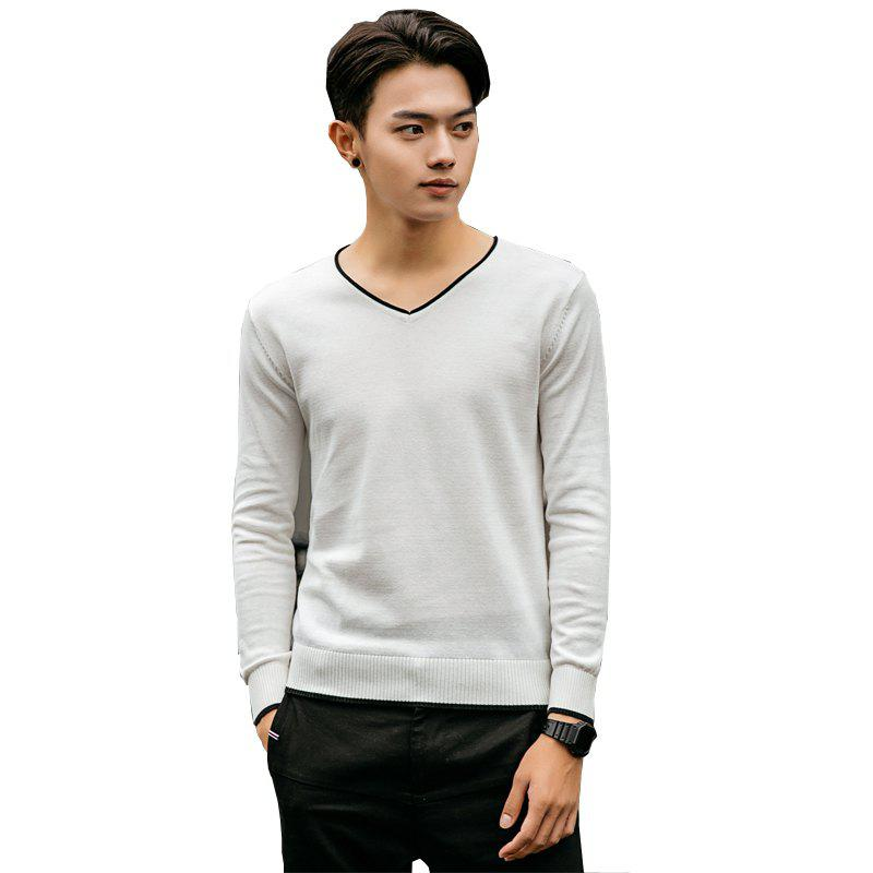 Cheap Men's Pure Color Casual Knitted Sweater