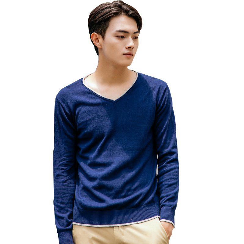 Shop Men's Pure Color Casual Knitted Sweater
