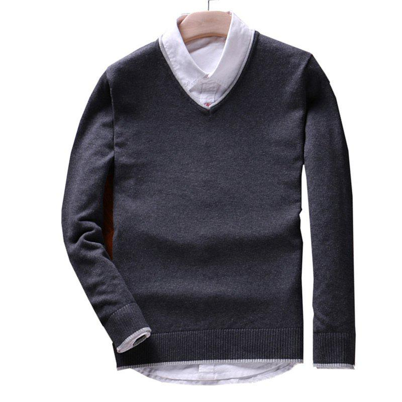 Shops Men's Pure Color Casual Knitted Sweater