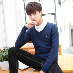 Men's Casual Solid Soft Knitted Long Sleeve V-Neck Sweater -