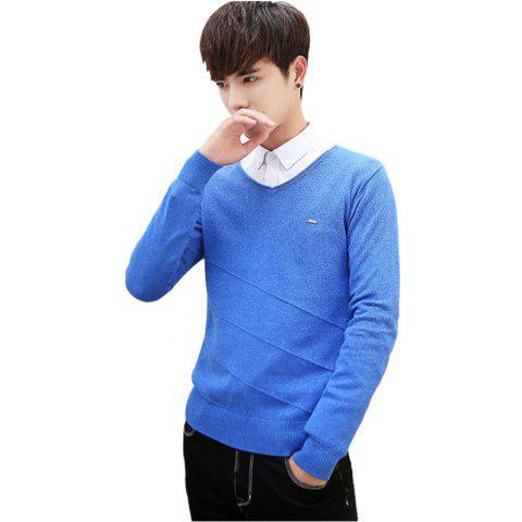 Fancy Men's Casual Solid Soft Knitted Long Sleeve V-Neck Sweater