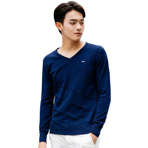 Buy Men's Casual Solid Soft Knitted Long Sleeve V-Neck Sweater