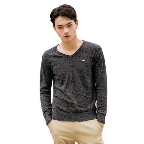 Online Men's Casual Solid Soft Knitted Long Sleeve V-Neck Sweater