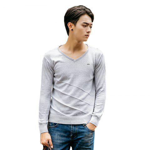 Unique Men's Casual Solid Soft Knitted Long Sleeve V-Neck Sweater
